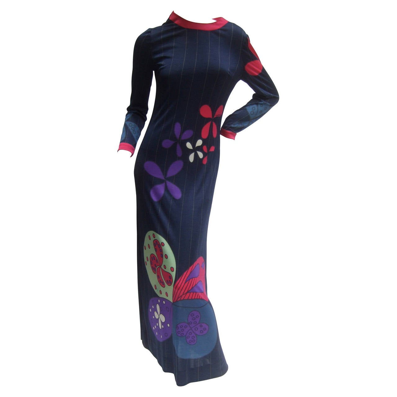 1626573bda1 Louis Feraud Paris Fabulous Mod Jersey Knit Print Maxi Gown c 1960s For Sale
