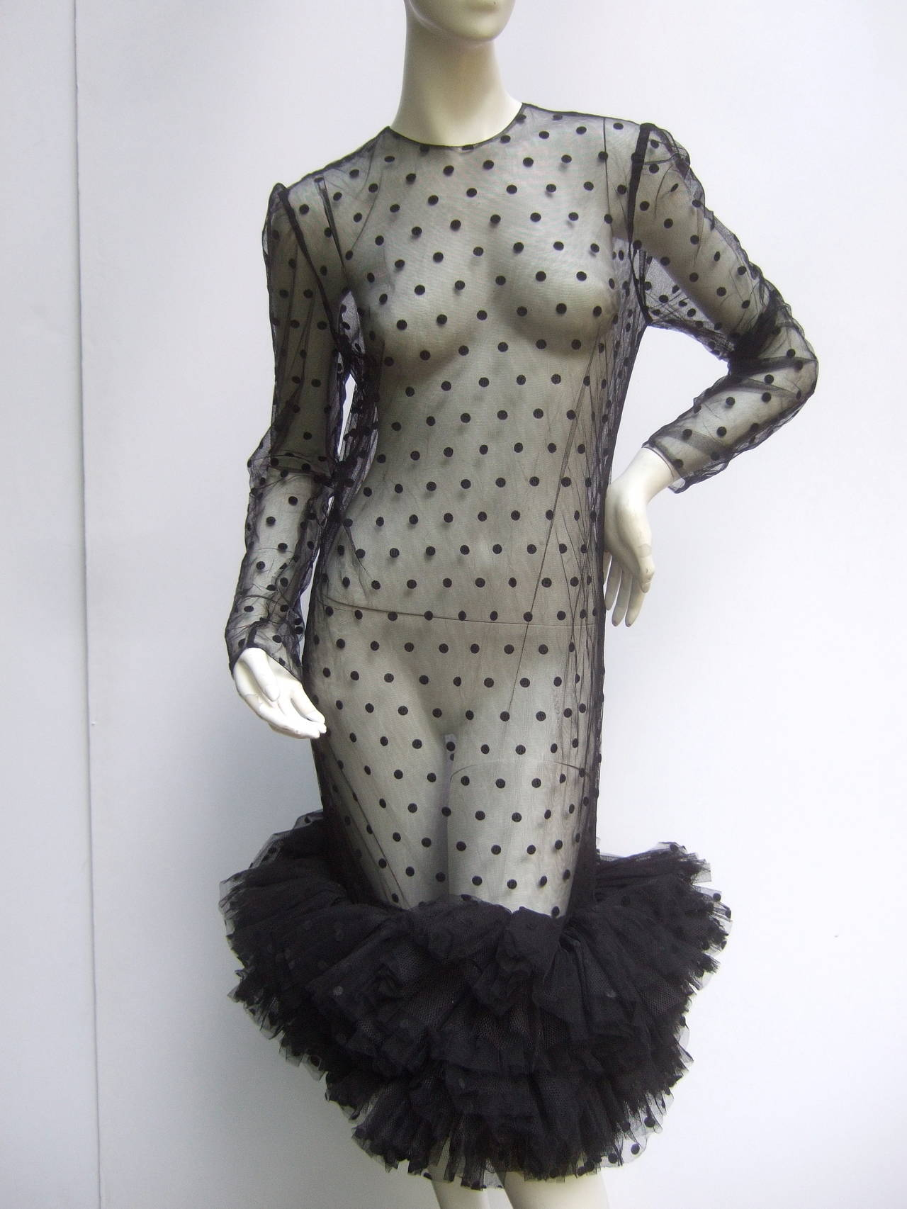 1980s Black Sheer Tulle Trim Polka Dot Dress At 1stdibs