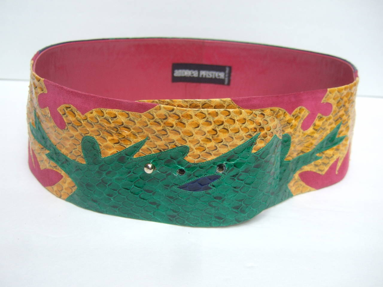 Exotic Italian Wide Snakeskin Fuchsia Suede Belt c 1980s In Excellent Condition For Sale In Santa Barbara, CA