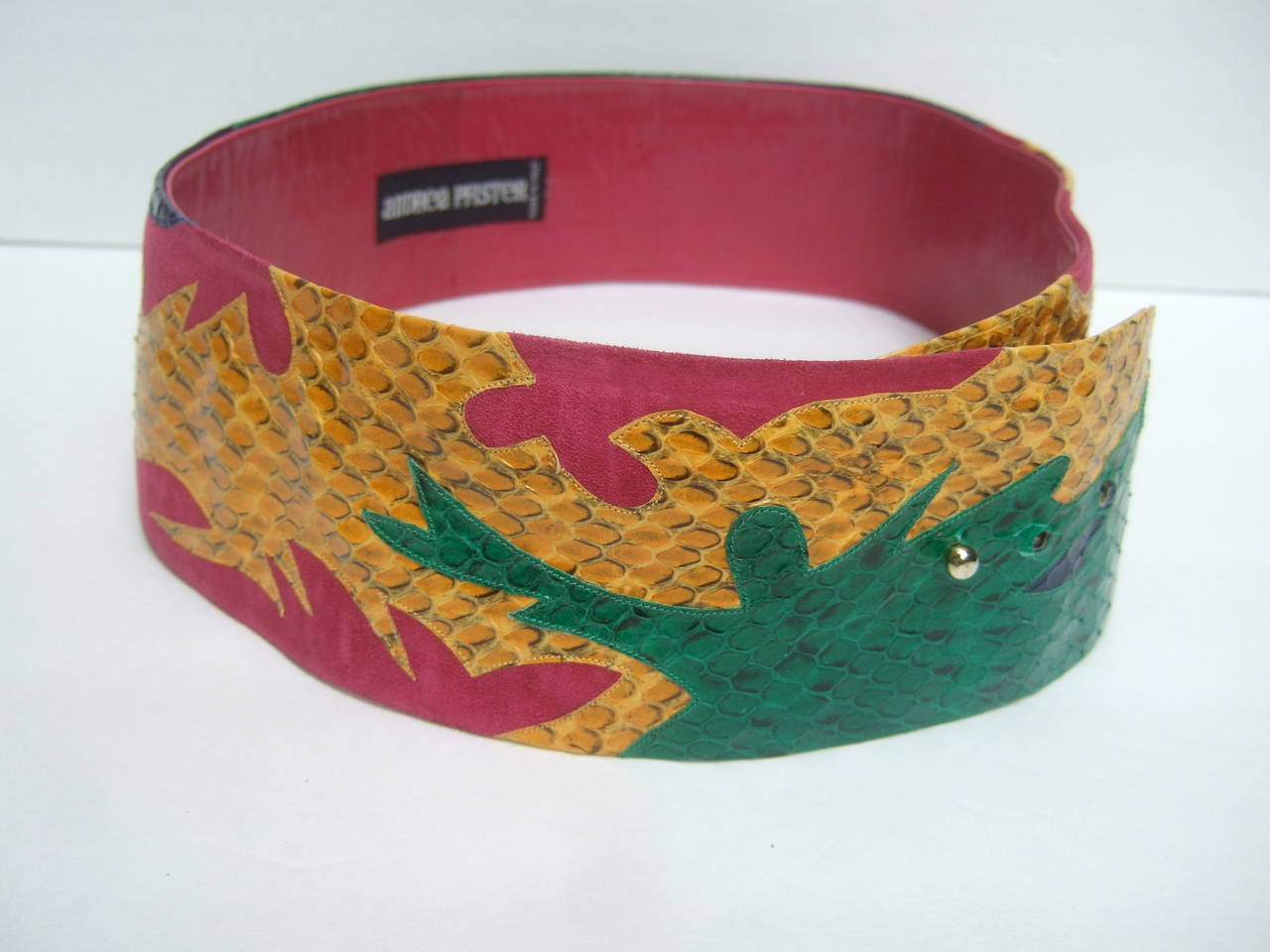 Exotic Italian Wide Snakeskin Fuchsia Suede Belt c 1980s For Sale 1