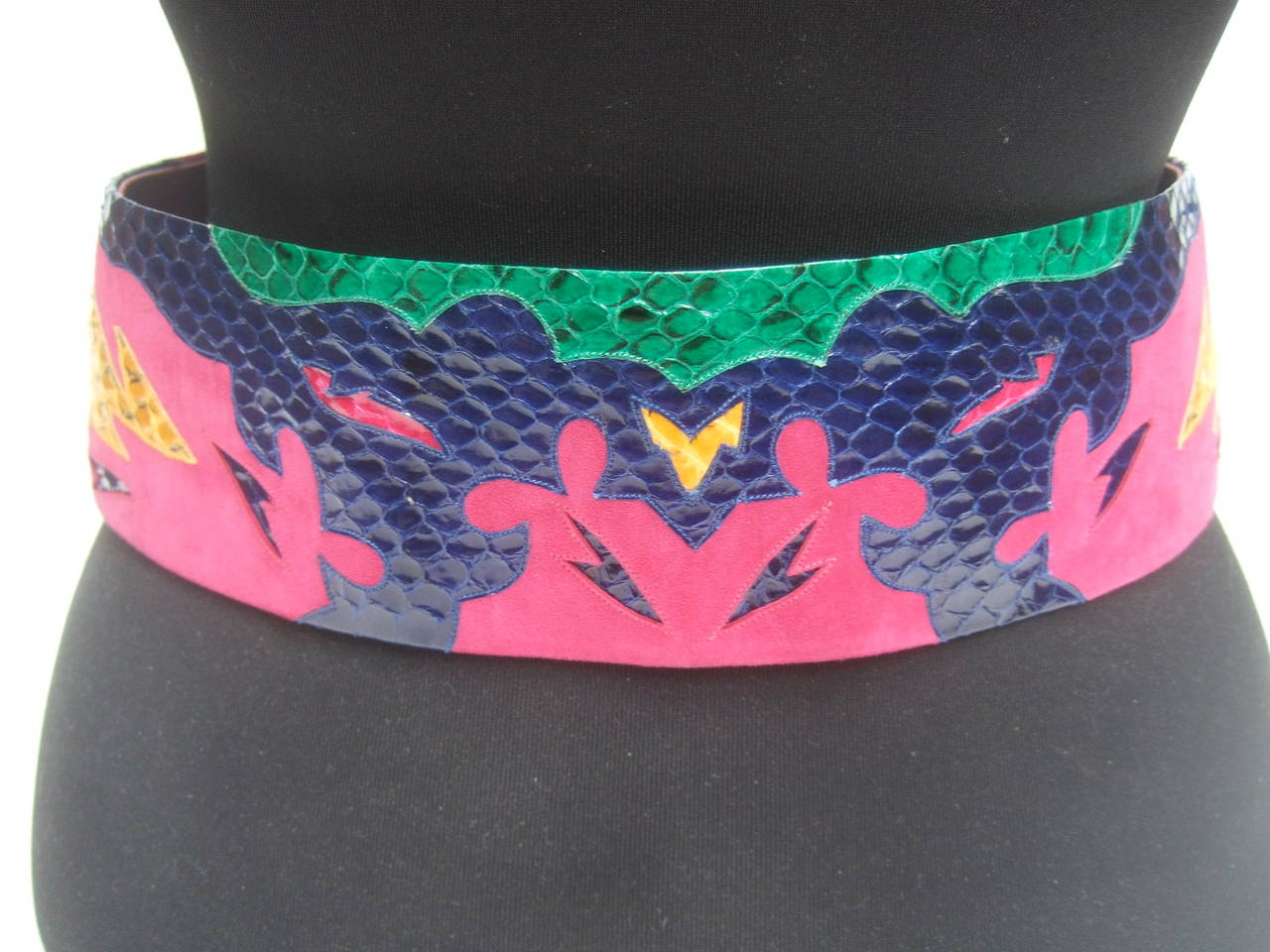 Exotic Italian wide snakeskin fuchsia suede belt c 1980s