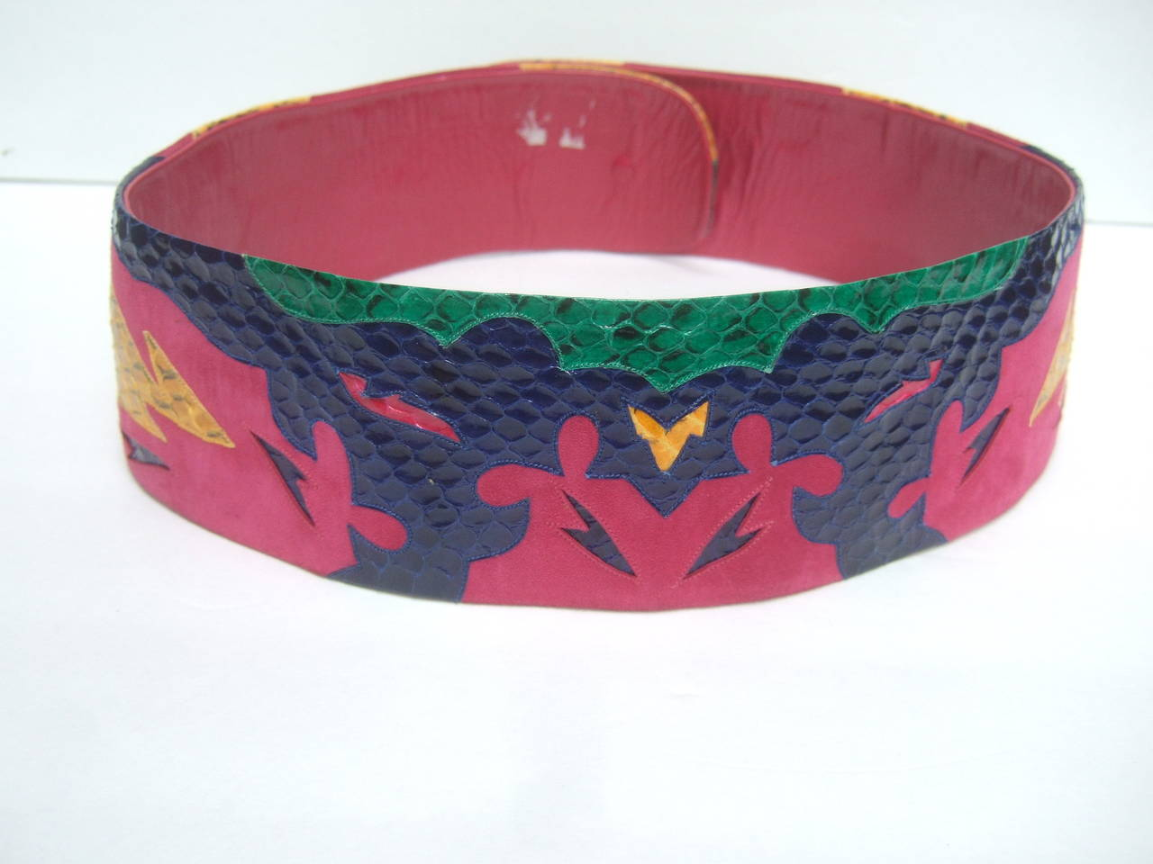 Exotic Italian Wide Snakeskin Fuchsia Suede Belt c 1980s For Sale 3