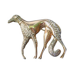 Exquisite Art Deco Borzoi Sterling Vermeil Brooch c 1940s