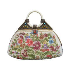 Exquisite Petit Point Jeweled Floral Evening Bag.  1920s