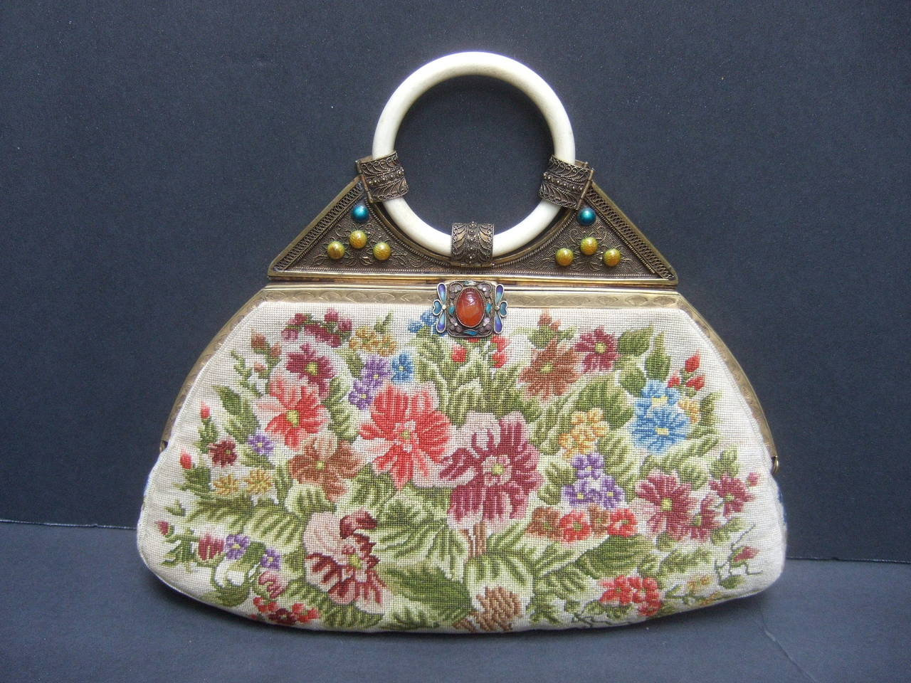Exquisite Petit Point Jeweled Floral Evening Bag 1920s