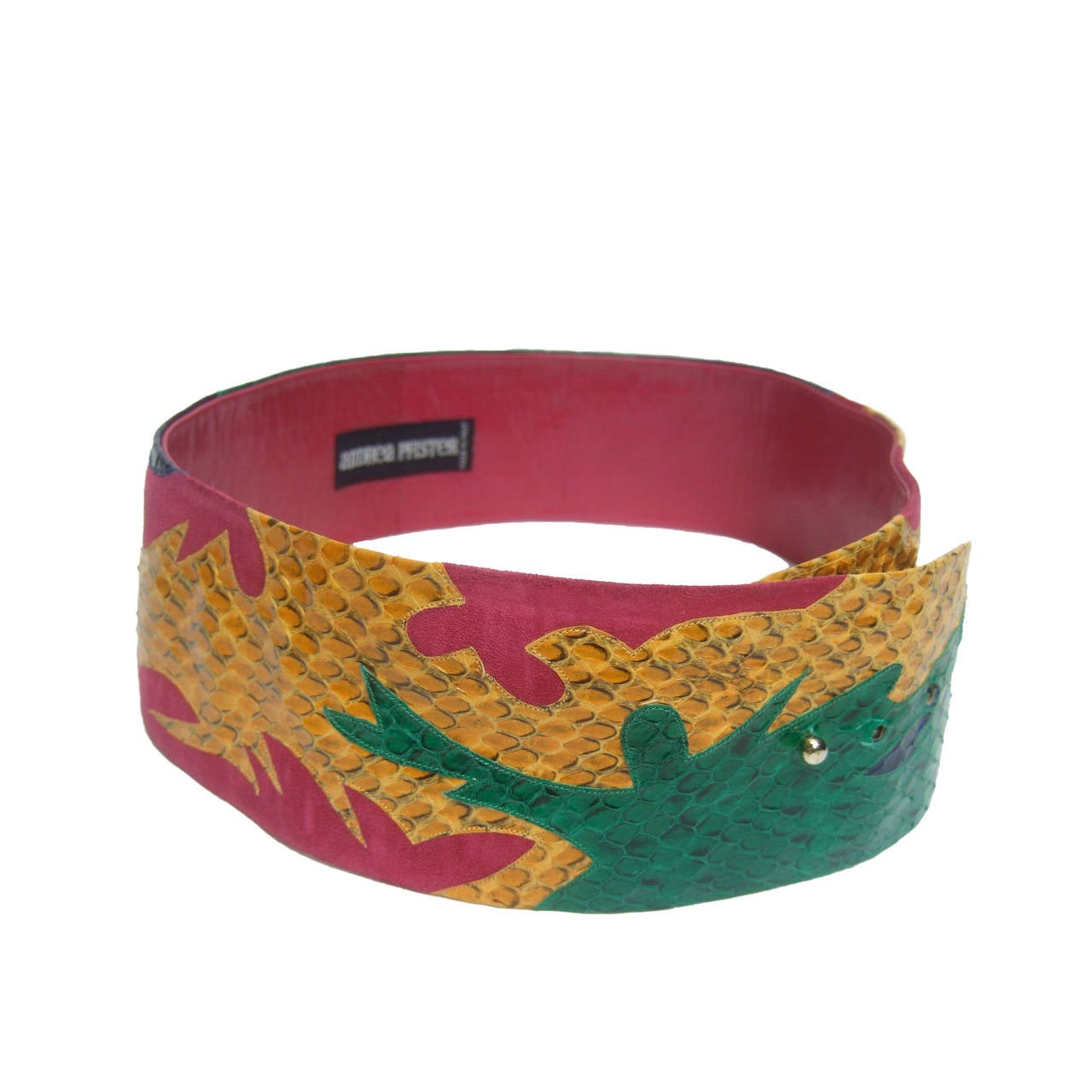 Exotic Italian Wide Snakeskin Fuchsia Suede Belt c 1980s For Sale