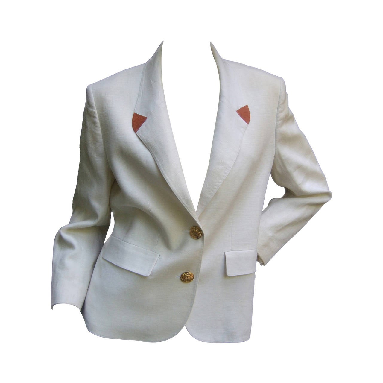 Hermes Paris Crisp White Linen Jacket Made in France c 1980s