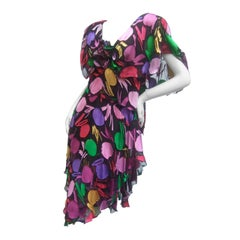 Holly Harp Chiffon Floral Print Tiered Dress c 1980s
