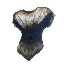 Oleg Cassini Lavish Silk Beaded Top c 1980s