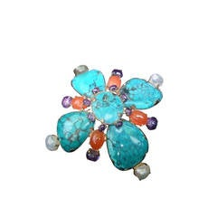 Spectacular Jeweled Semi Precious Massive Sterling Brooch, 1999