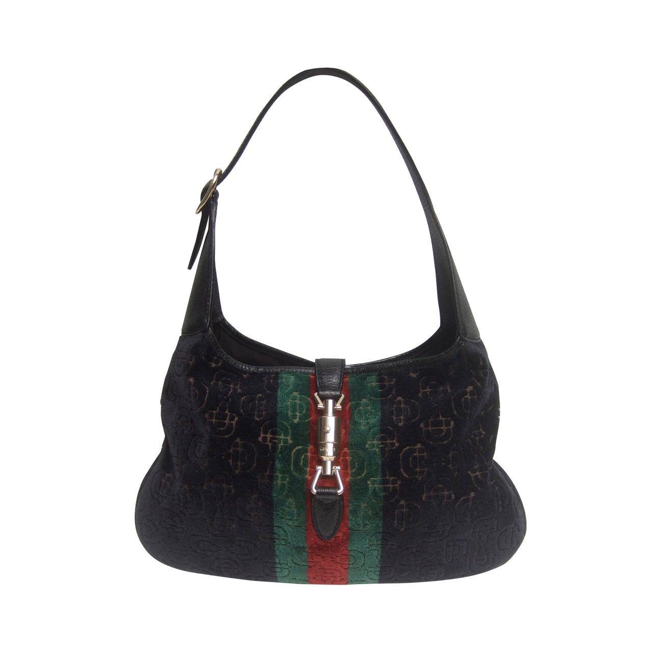 8e6adc7fdbe Gucci Italy Iconic Devore Jackie O Piston Handbag at 1stdibs