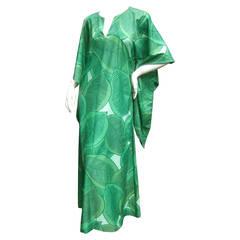 Lush Green Tropical Print Caftan Gown c 1970