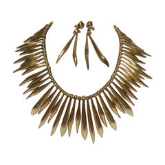 Severe Gilt Metal Spike Necklace and Earring Set