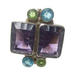 Sterling Artisan Semi Precious Amethyst Ring Size 8.5