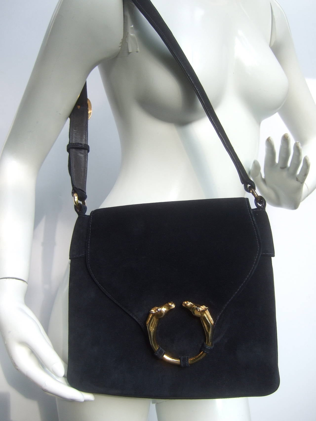 Gucci Equine Emblem Midnight Blue Suede Shoulder Bag c 1970 For Sale 1