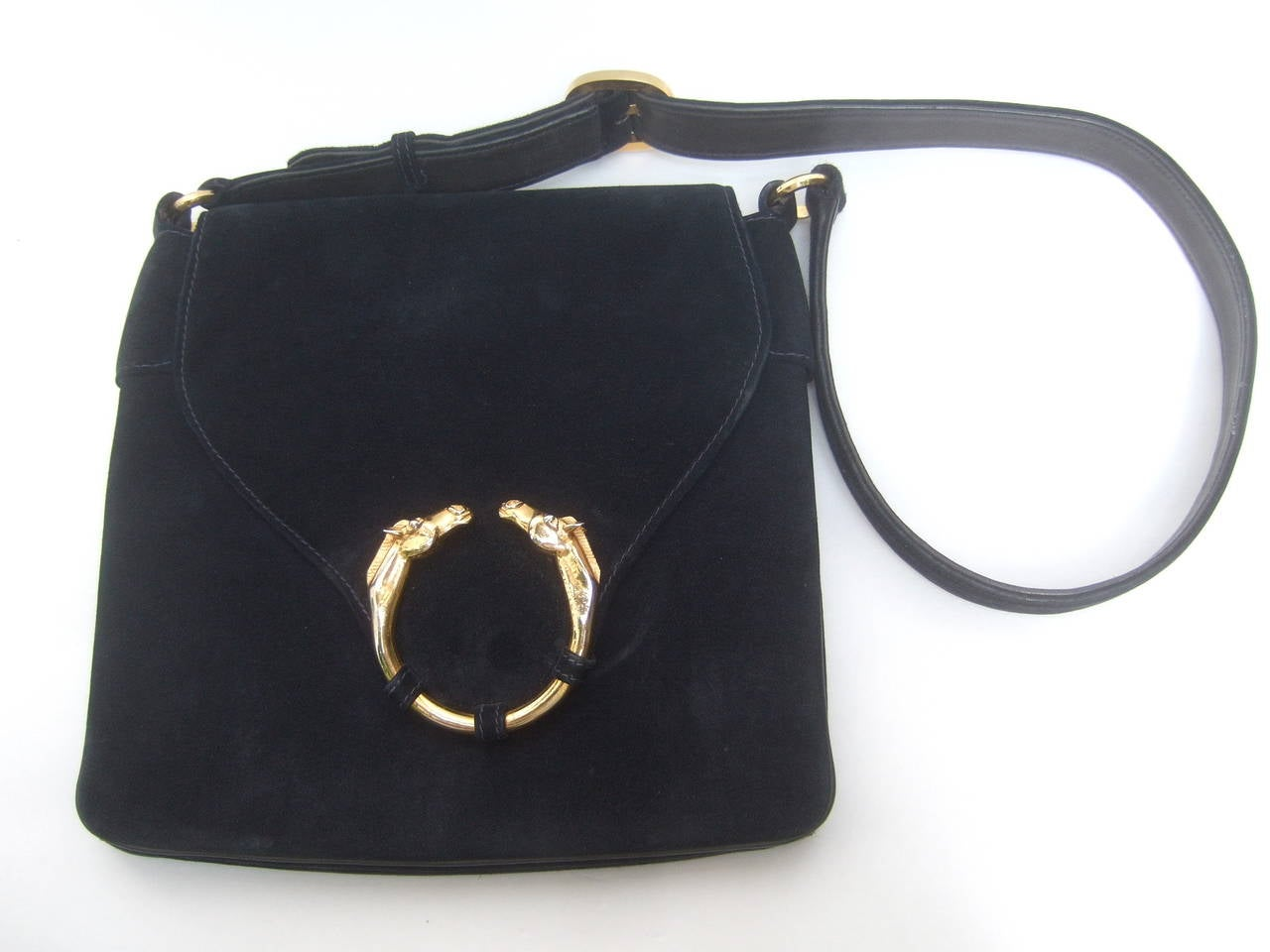 Gucci Equine Emblem Midnight Blue Suede Shoulder Bag c 1970 In Excellent Condition For Sale In Santa Barbara, CA
