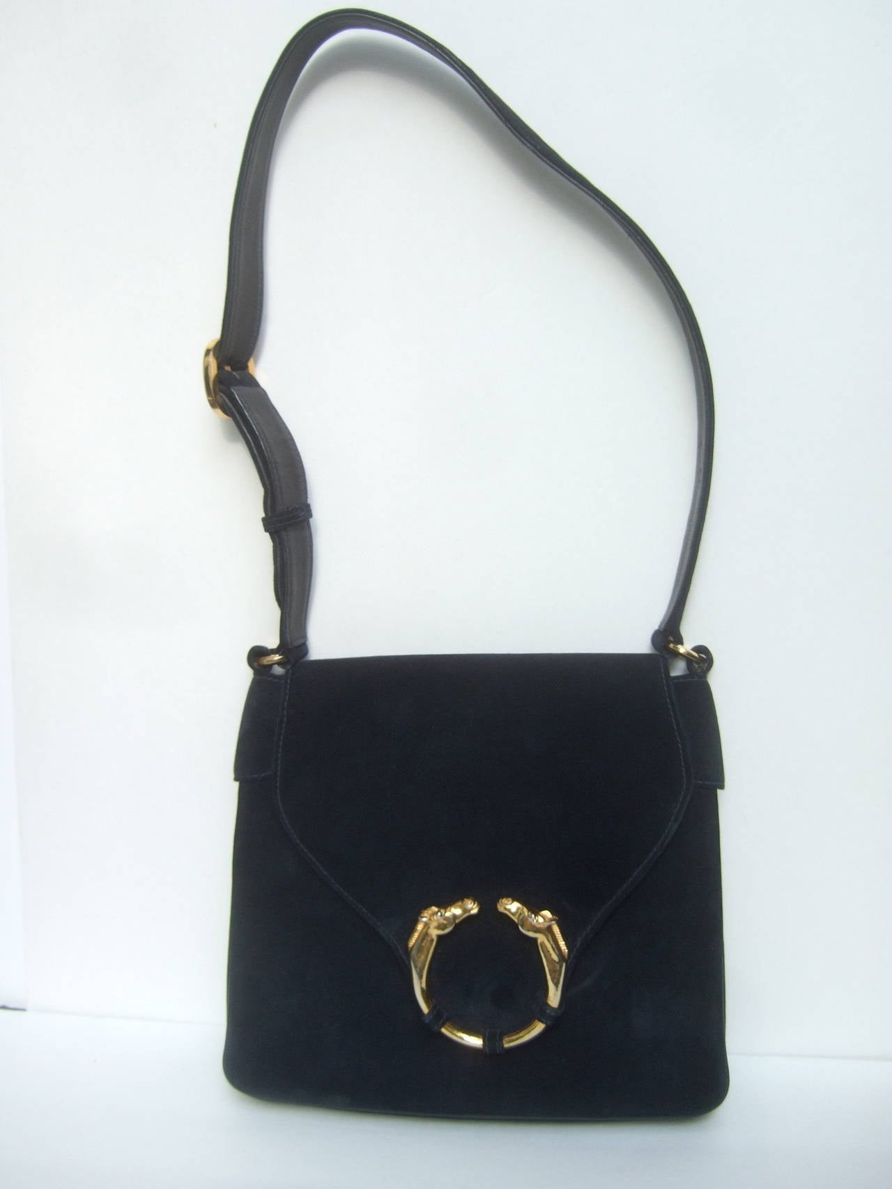 Women's Gucci Equine Emblem Midnight Blue Suede Shoulder Bag c 1970 For Sale