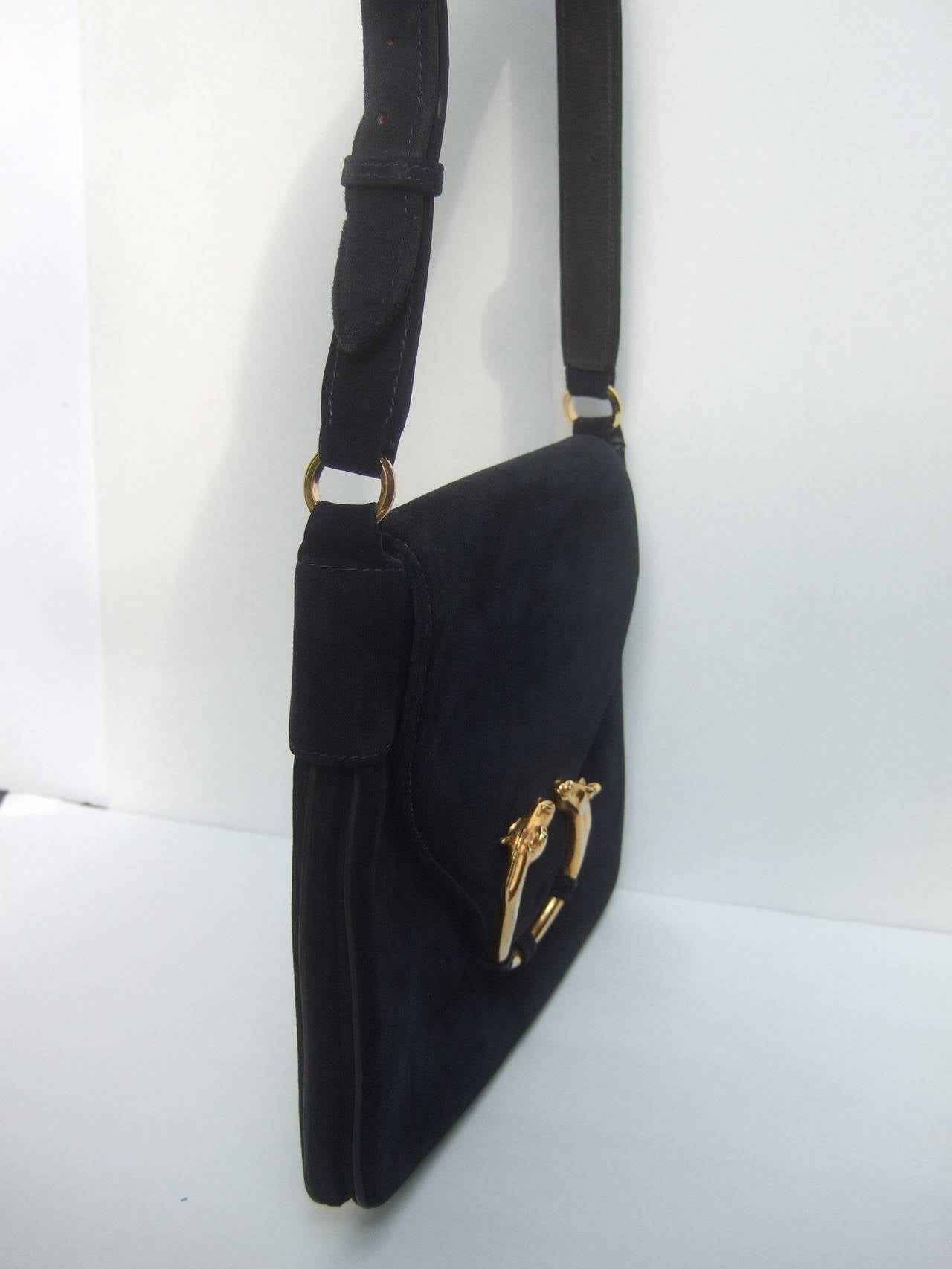 Gucci Equine Emblem Midnight Blue Suede Shoulder Bag c 1970 For Sale 2