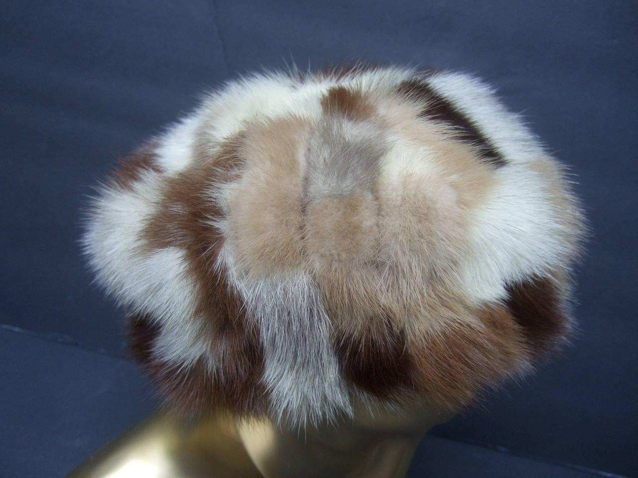 Saks Fifth Avenue Mink Patch Tile Hat c 1970 For Sale 2