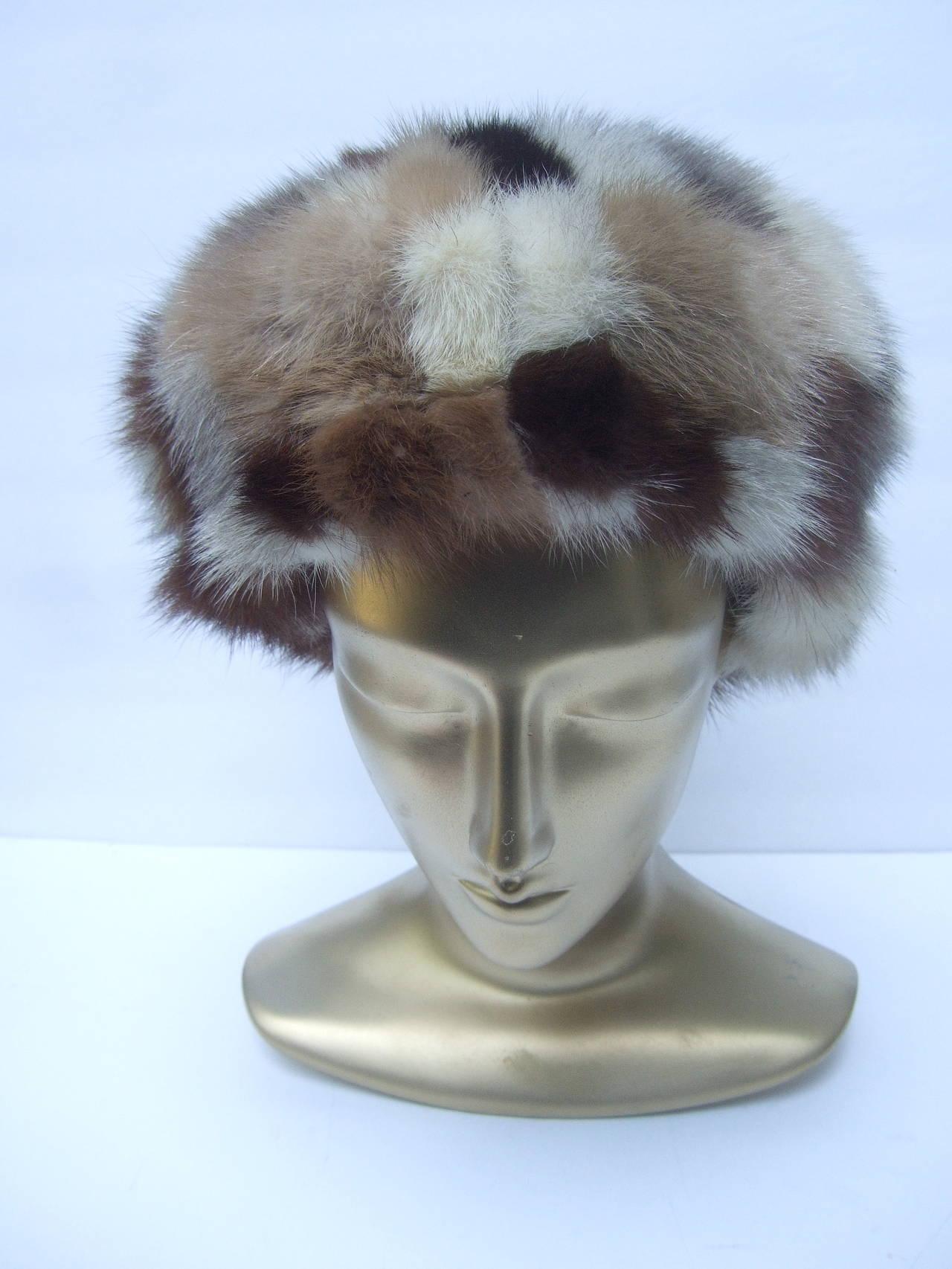 Saks Fifth Avenue Mink Patch Tile Hat c 1970 For Sale 1