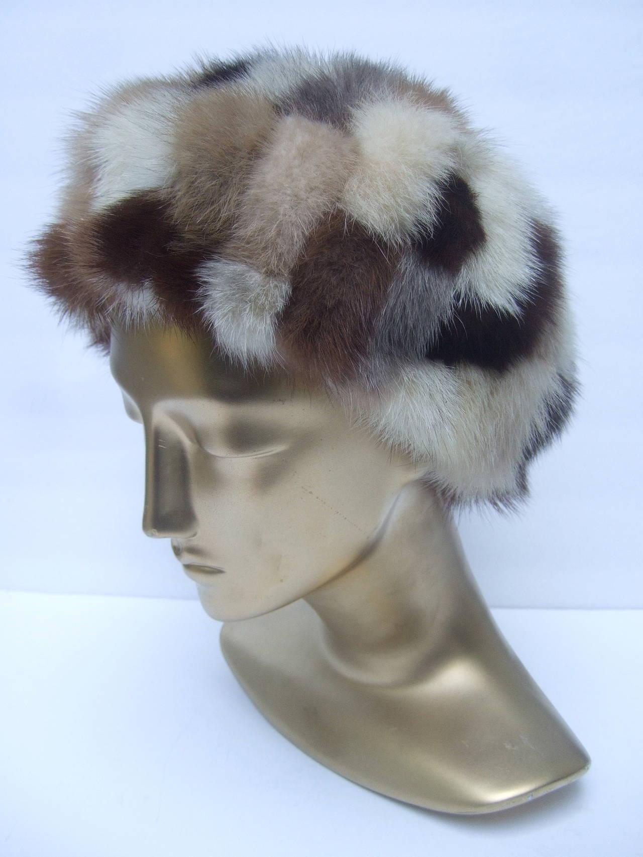 Women's Saks Fifth Avenue Mink Patch Tile Hat c 1970 For Sale