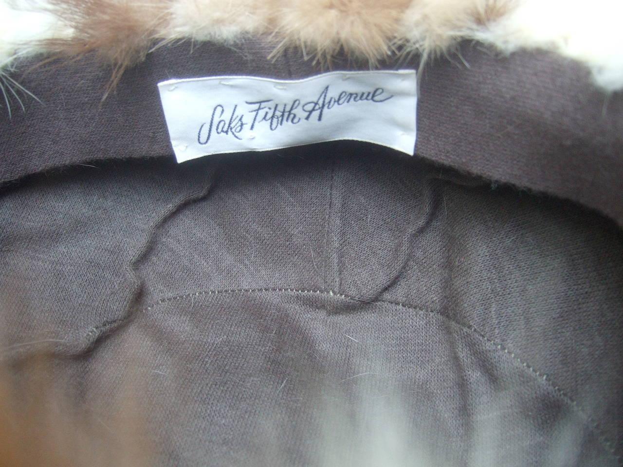 Saks Fifth Avenue Mink Patch Tile Hat c 1970 For Sale 4