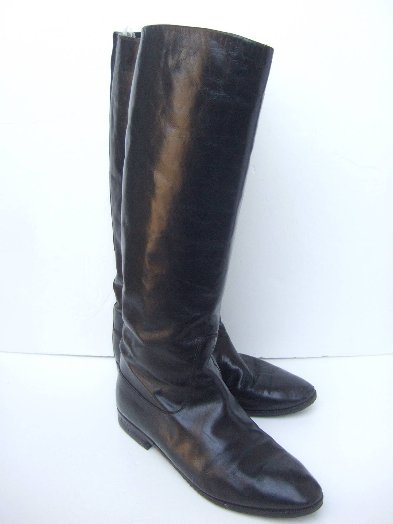 Gucci Black Leather Vintage Riding Boots c 1980s Size 38.5 7