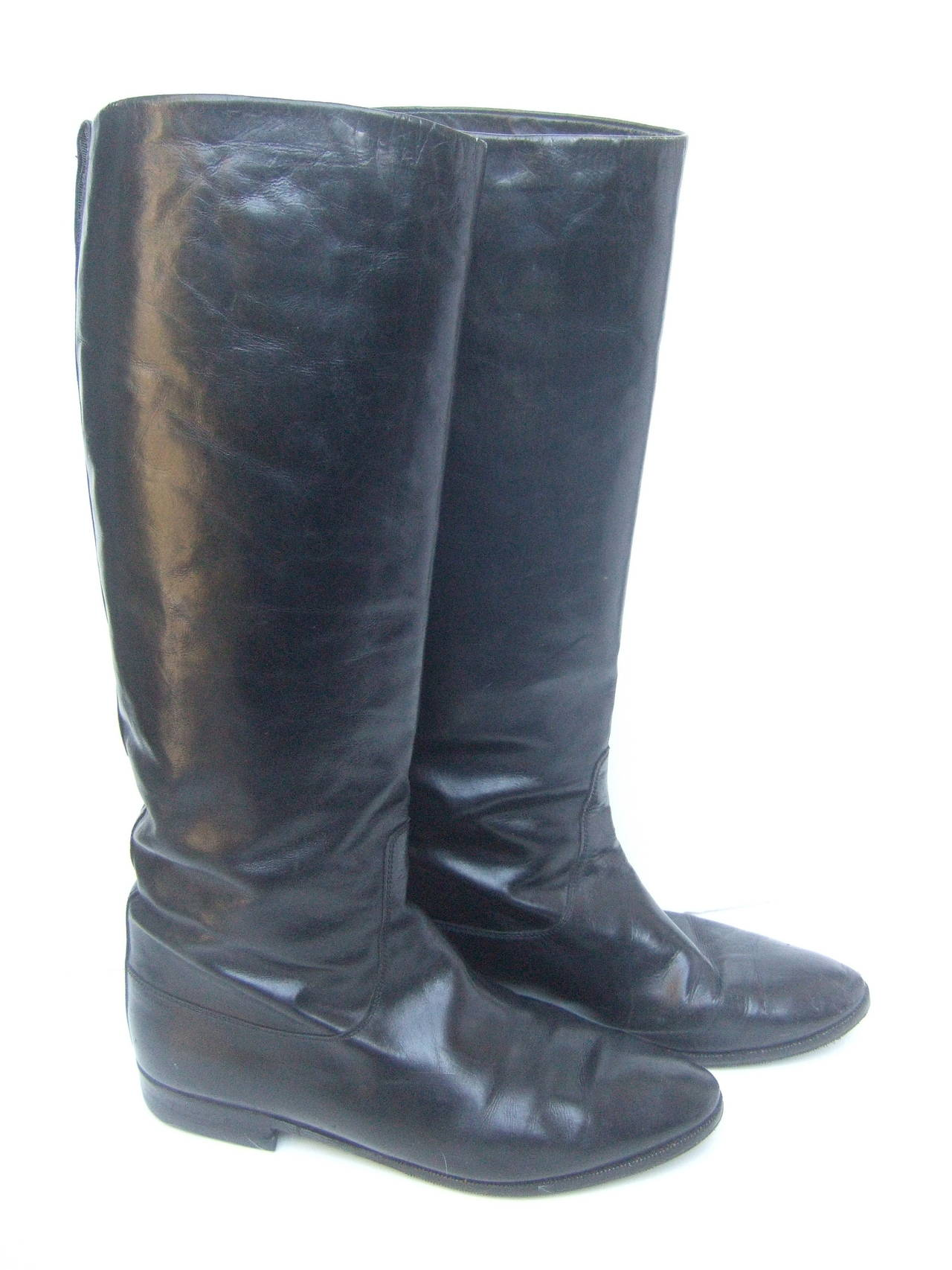 Gucci Black Leather Vintage Riding Boots c 1980s Size 38.5 3