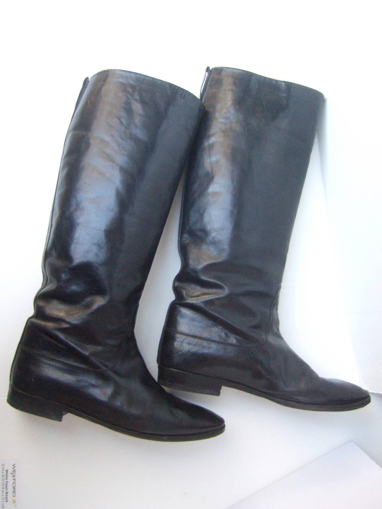 Gucci Black Leather Vintage Riding Boots C 1980s Size 38 5