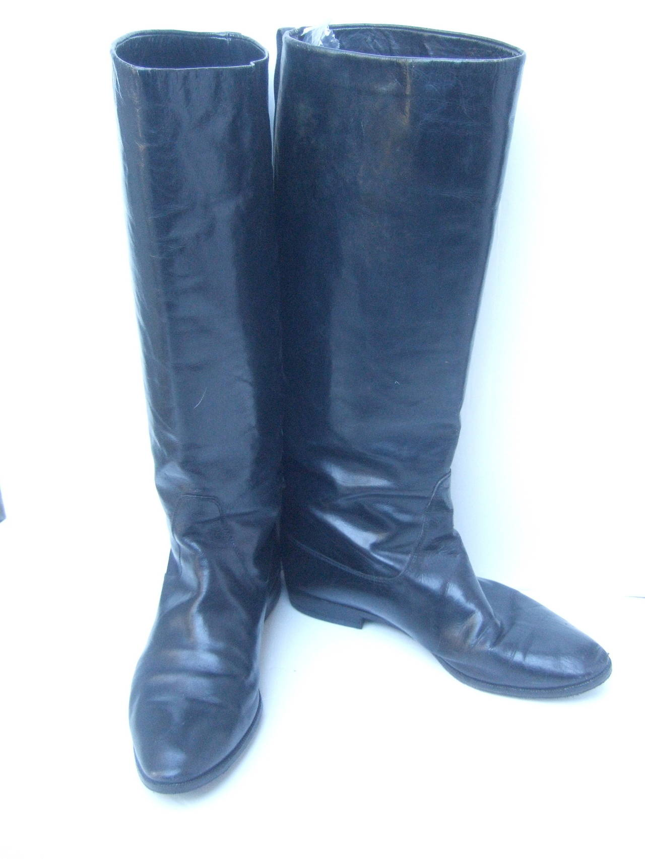 Gucci Black Leather Vintage Riding Boots c 1980s Size 38.5 4