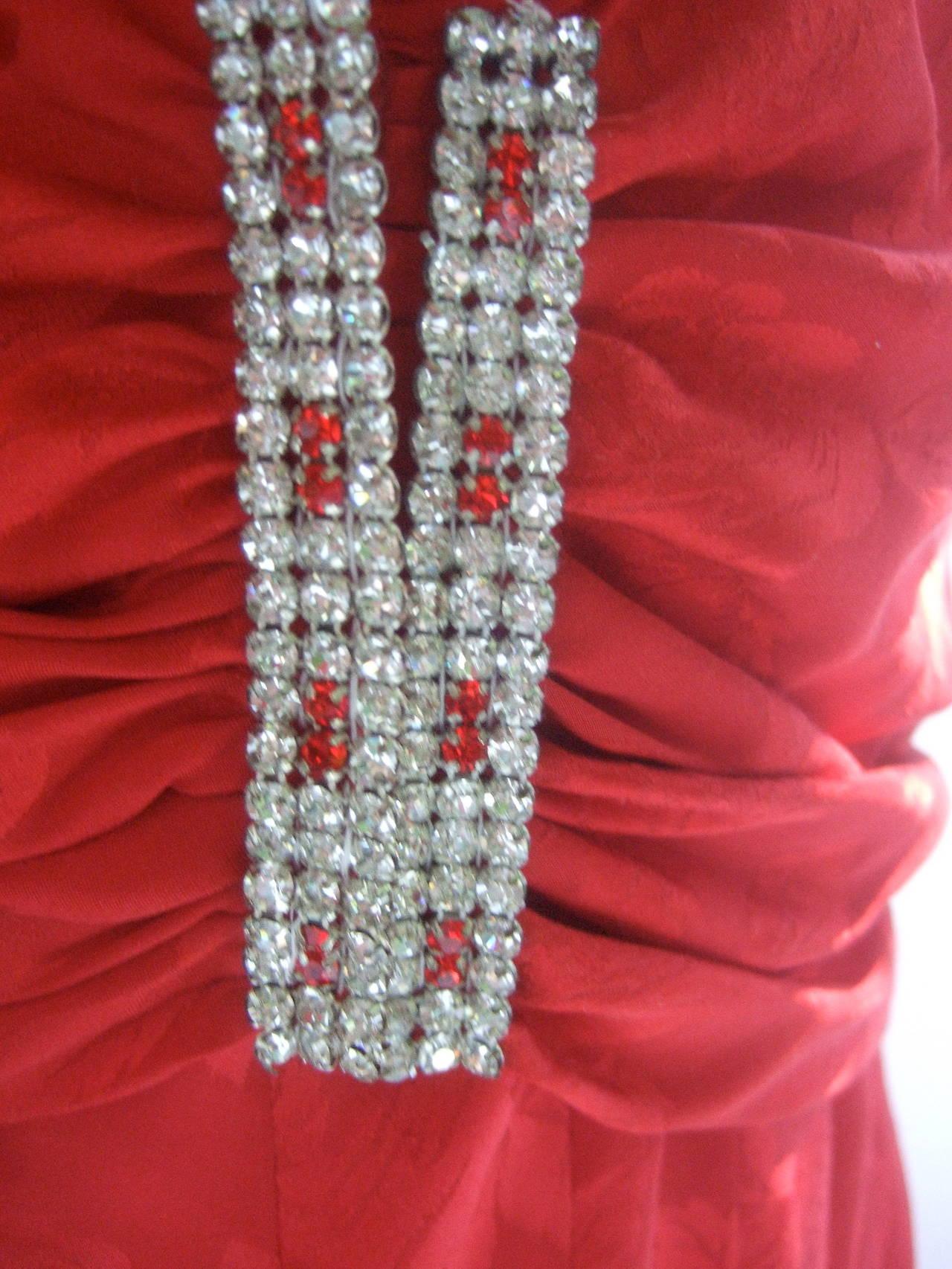 Oscar De La Renta Scarlet Silk Blouse And Maxi Skirt C