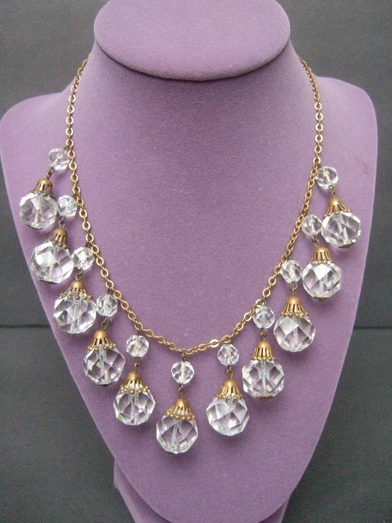 Opulent Art Deco Crystal Drop Necklace c 1940s 5