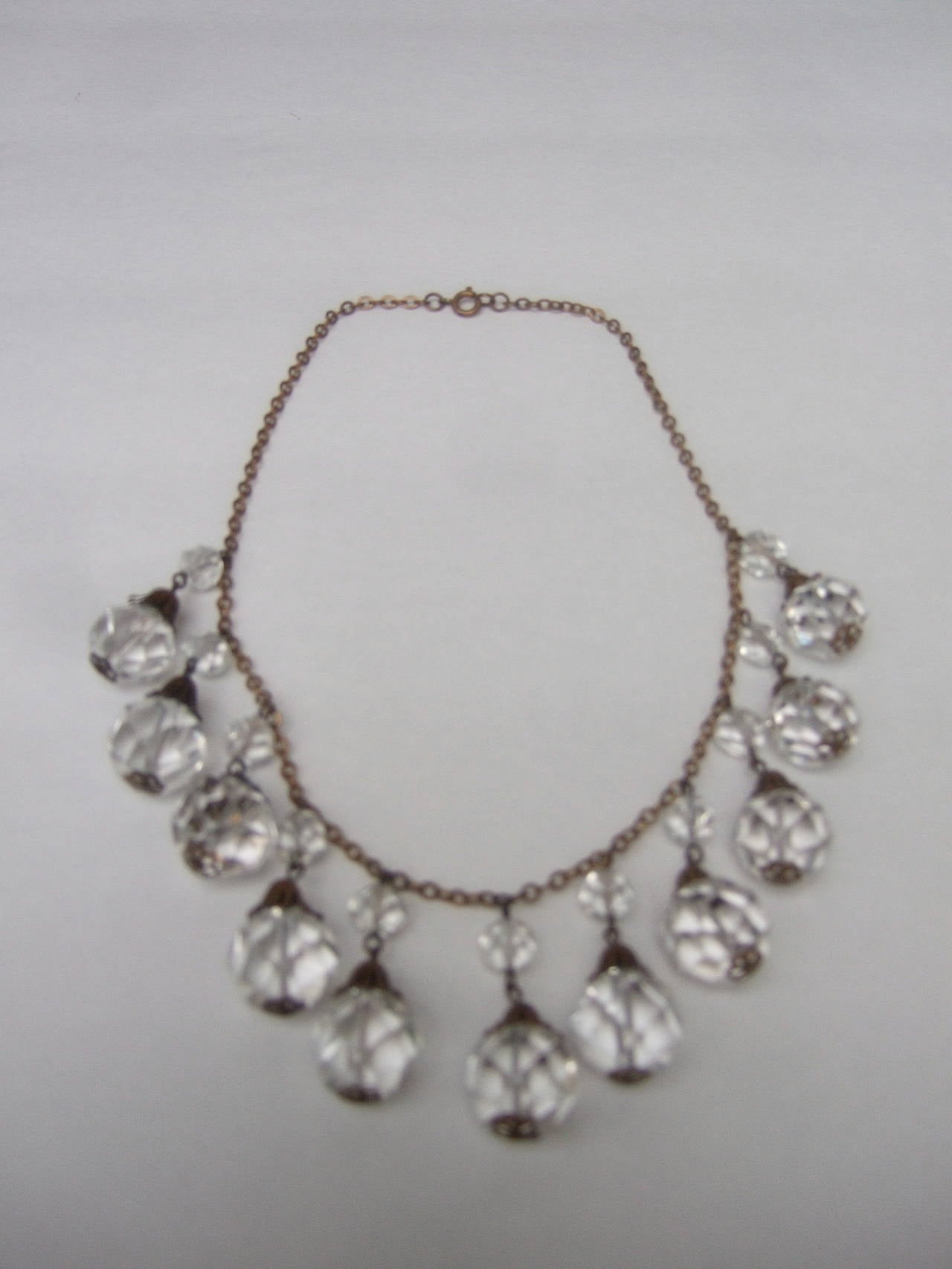 Opulent Art Deco Crystal Drop Necklace c 1940s 3