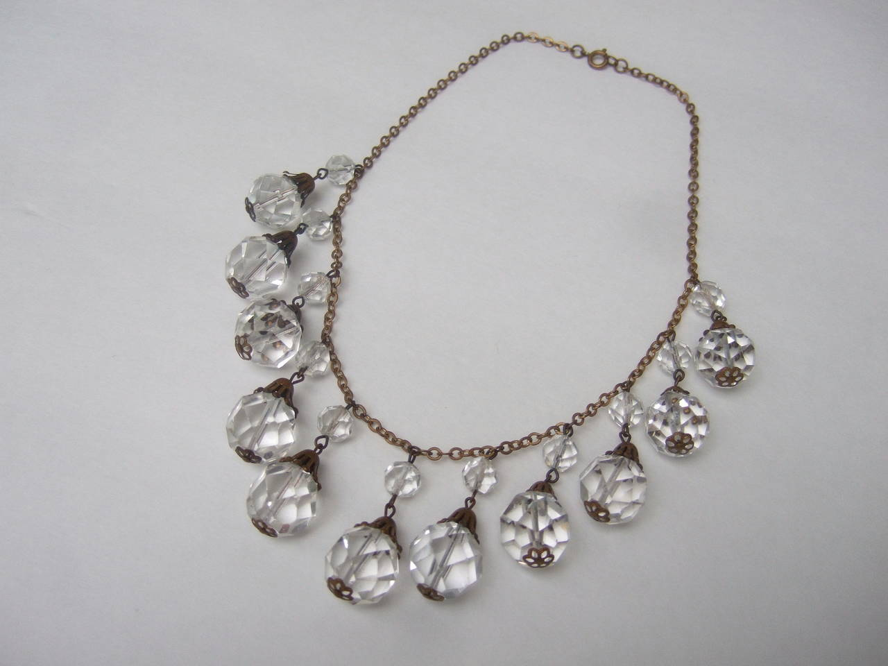 Opulent Art Deco Crystal Drop Necklace c 1940s 9