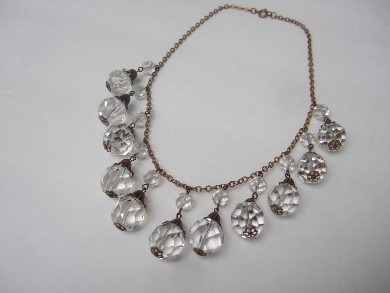 Opulent Art Deco Crystal Drop Necklace c 1940s 7