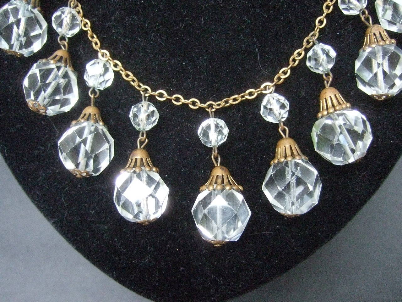 Opulent Art Deco Crystal Drop Necklace c 1940s 6
