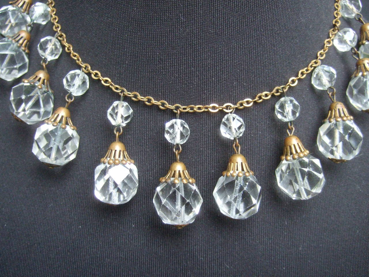 Opulent Art Deco Crystal Drop Necklace c 1940s 4