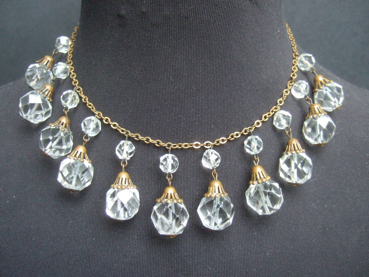 Opulent Art Deco Crystal Drop Necklace c 1940s 2