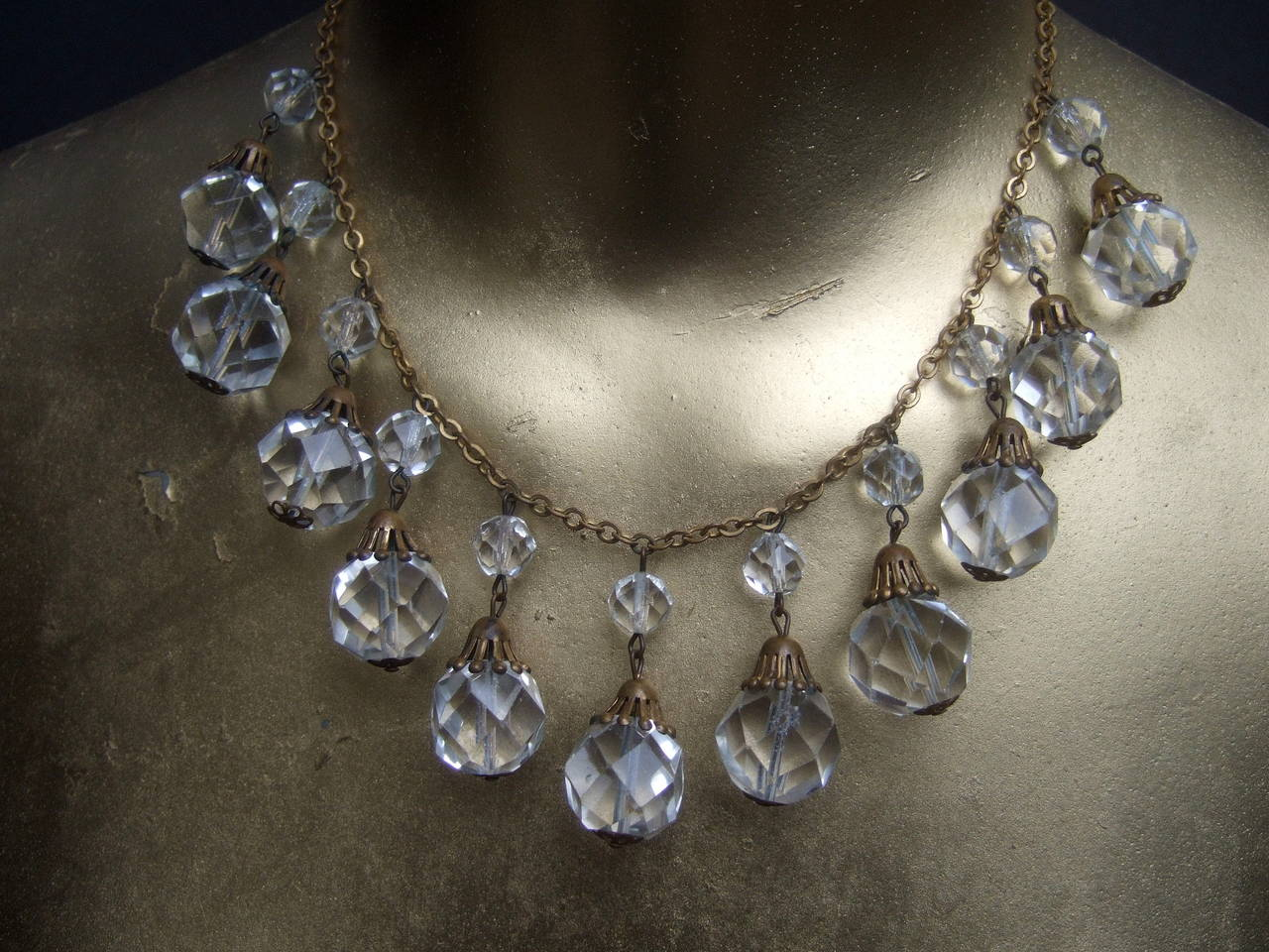 Opulent Art Deco Crystal Drop Necklace c 1940s 8