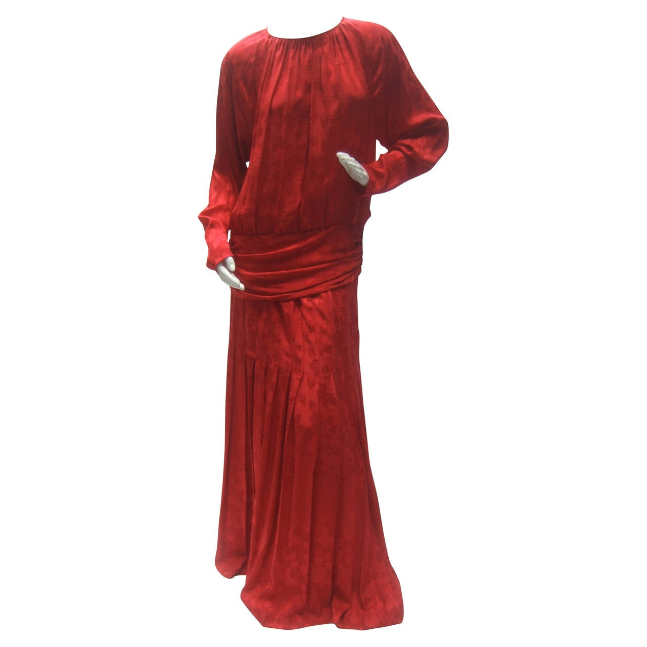 Oscar de la Renta Scarlet Silk Blouse & Maxi Skirt c 1980