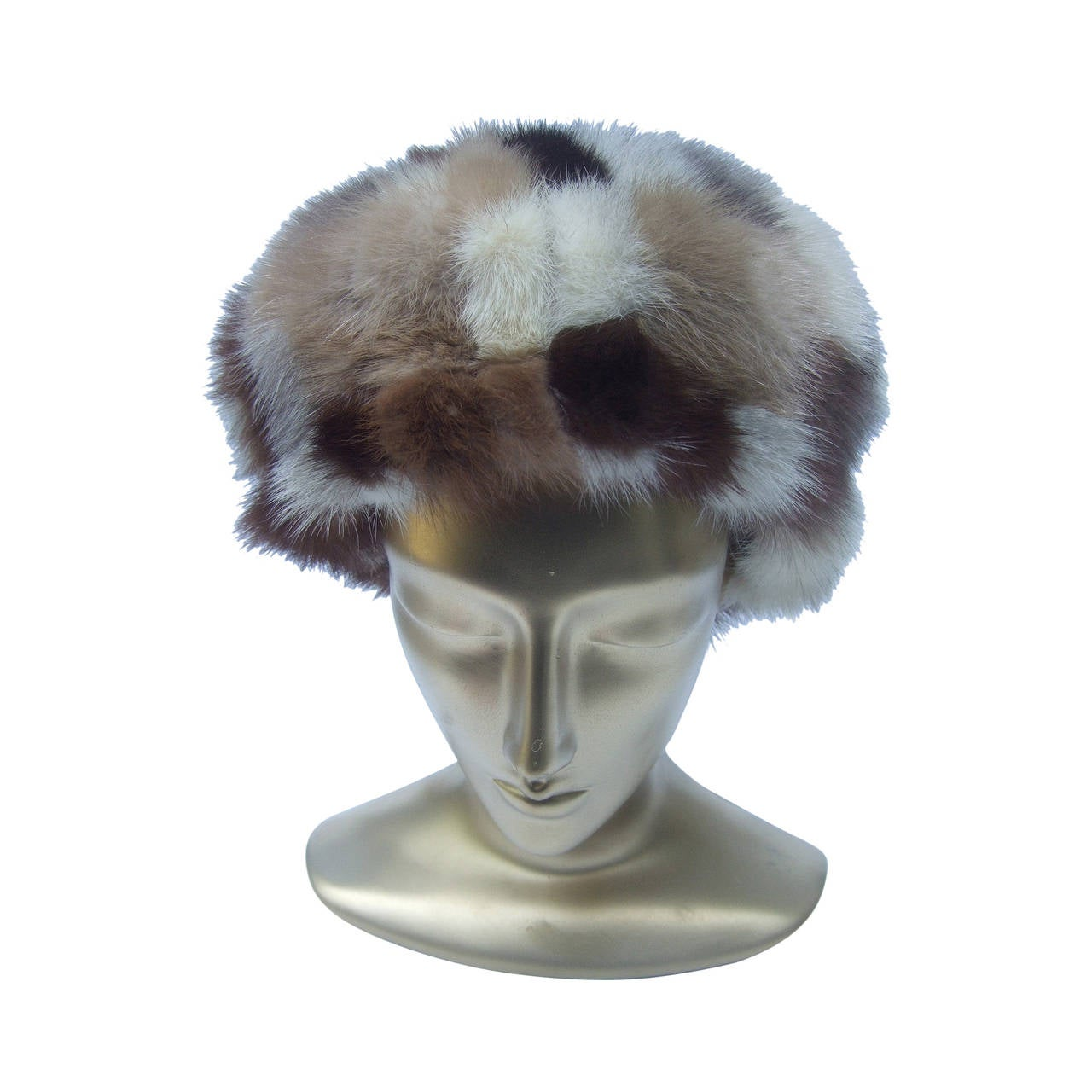 Saks Fifth Avenue Mink Patch Tile Hat c 1970 For Sale