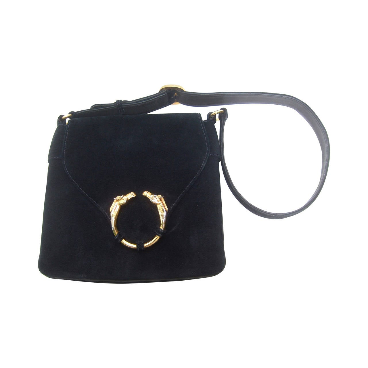 Gucci Equine Emblem Midnight Blue Suede Shoulder Bag c 1970 For Sale