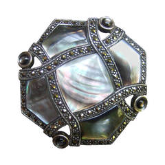 Exquisite Mother of Pearl Sterling Marcasite Brooch