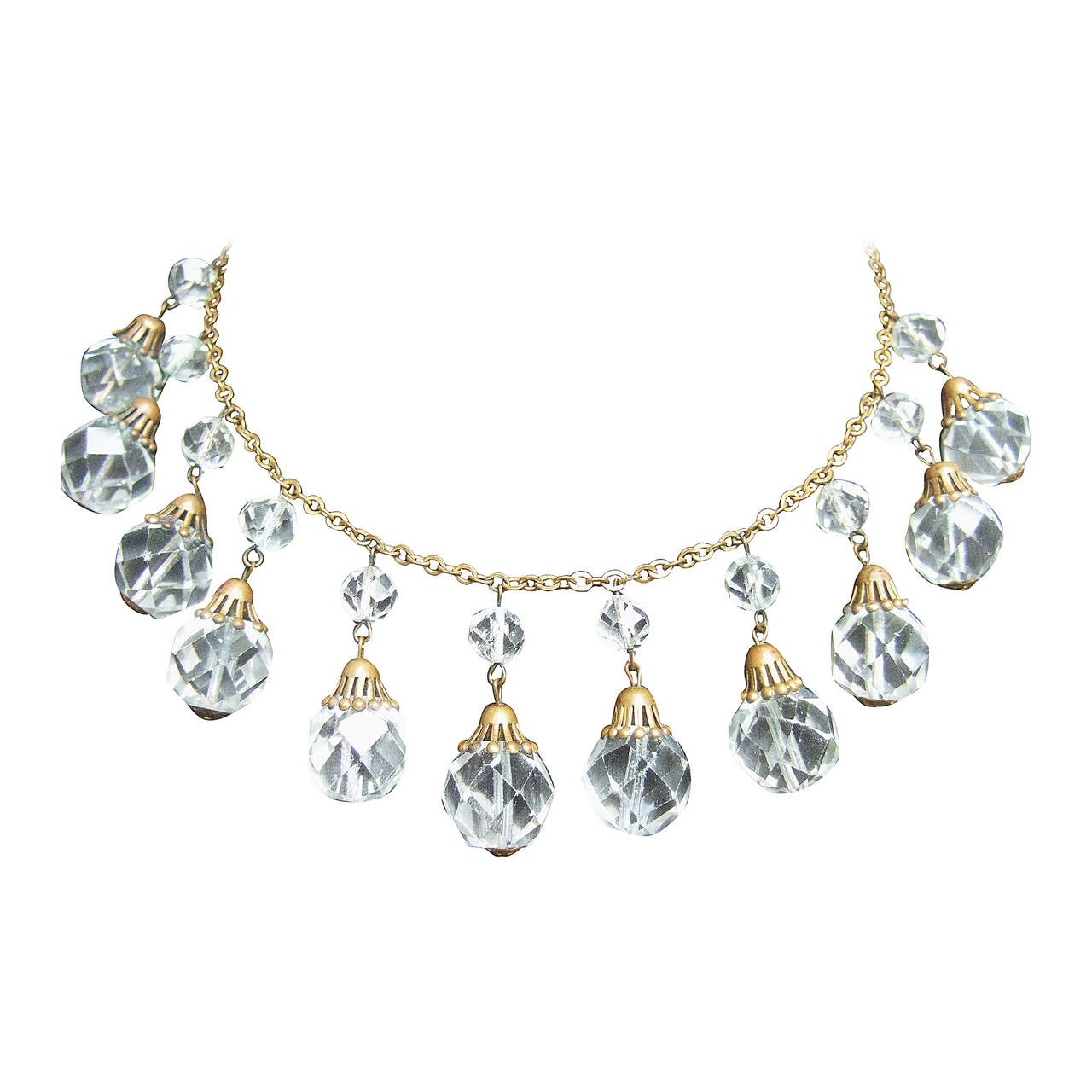 Opulent Art Deco Crystal Drop Necklace c 1940s 1