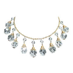 Opulent Art Deco Crystal Drop Necklace c 1940s