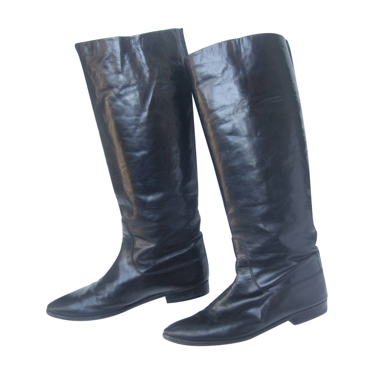 Gucci Black Leather Vintage Riding Boots c 1980s Size 38.5 1
