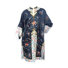 Exotic Chinoiserie Embroidered Satin Duster Coat 1980s