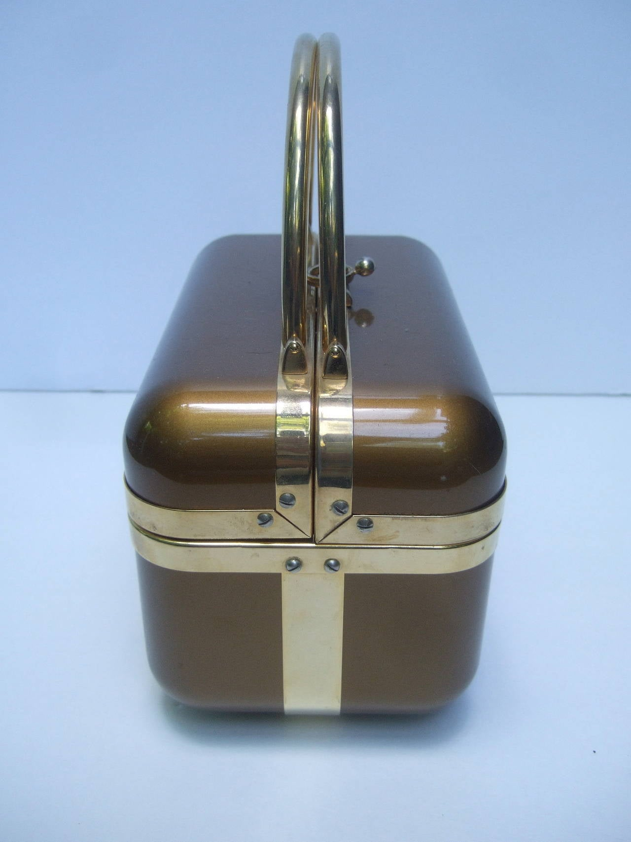 Gray Sleek 1970s Italian Bronze Lucite Handbag Designed by Baulotto For Sale