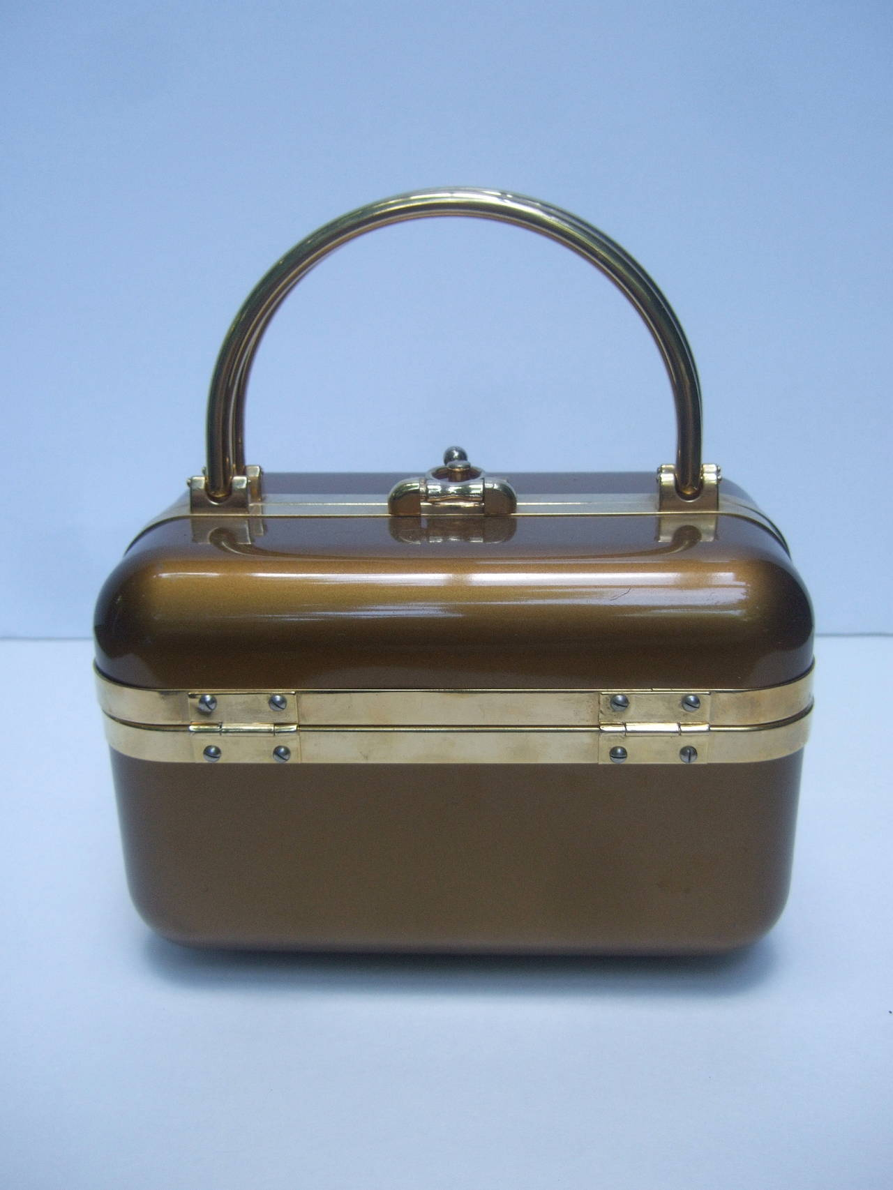 Sleek 1970s Italian Bronze Lucite Handbag Designed by Baulotto For Sale 4