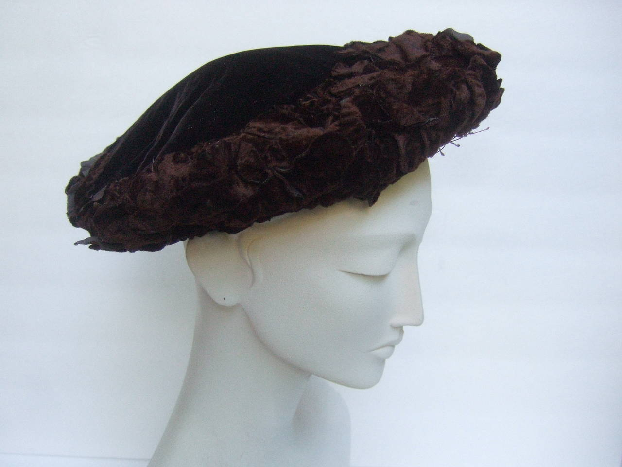 c73b9ee7cc7 Women s Brown Velvet Flower Pedal Hat for Neiman Marcus Made in Italy For  Sale
